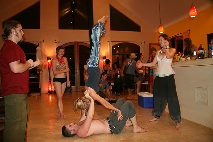 Acrobalance lessons at a Manifesto party 2008