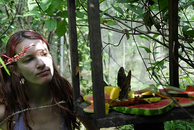 Amy watching a butterfly feast at Montezuma Gardens butterfly exhibit