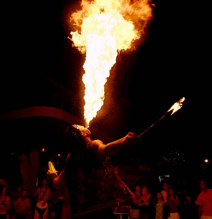 Fusion from Pyrosutra fire breathing during a Montezuma street show
